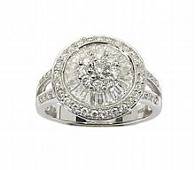A 18ct white gold diamond set cluster ring Ring size: M