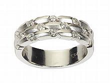 A modern diamond set ring Ring size: O/P