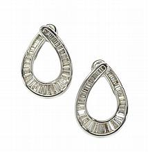 A pair of 18ct white gold diamond set earrings 25mm x 17mm