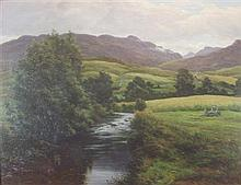 JOHN JAMES BANNATYNE R.S.W. (SCOTTISH 1836-1911) HIGHLAND RIVER LANDSCAPE 76cm x 96.75cm (30.5in x 37in)