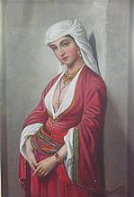 19TH CENTURY BELGIAN SCHOOL AN ARAB BEAUTY 24cm x 18cm (9.5in x 7in)