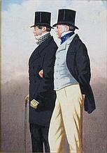 RICHARD DIGHTON (BRITISH 1795-1880) DOUBLE PORTRAIT OF ADMIRAL ROUS AND MR PAYNE 20cm x 14cm (8in x 5.5in)