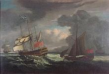 FOLLOWER OF DOMINIC SERRES BRITISH VESSELS ON A ROUGH SEA 60cm x 87cm (23.5in x 34.25in)