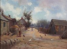 § ROBERT RUSSELL MACNEE (SCOTTISH 1880-1952) DUCKS ON A VILLAGE PATH 30cm x 39cm (12in x 15.25in)