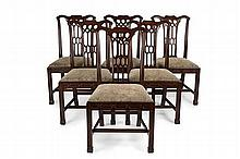 SET OF SIX CHINESE CHIPPENDALE STYLE MAHOGANY DINING CHAIRS 52cm wide, 97cm high, 43cm deep