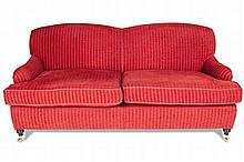 PAIR OF UPHOLSTERED SOFAS 20TH CENTURY 190cm wide, 88cm high, 65cm deep