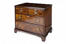 WALNUT AND CROSS BANDED CHEST 84cm wide, 80cm high, 47cm deep