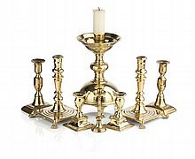 COLLECTION OF BRASS CANDLESTICKS largest 26.5cm high
