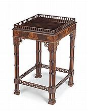 CHIPPENDALE STYLE MAHOGANY SILVER TABLE 43cm wide, 71cm high
