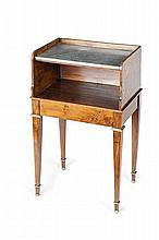PINE AND FRUITWOOD GILT METAL MOUNTED BEDSIDE TABLE 19TH CENTURY 43cm wide, 76cm high, 32cm deep
