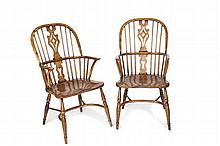 SET OF FOUR ASH AND ELM 'WINDSOR' CHAIRS 53cm wide, 106cm high, 44cm deep