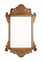 AMERICAN SATINWOOD WALL MIRROR 57cm wide, 102cm high