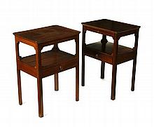 NEAR PAIR OF MAHOGANY BEDSIDE TABLES 57cm wide, 79cm high, 50cm deep