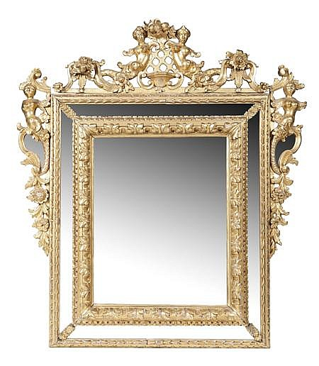 ITALIAN BAROQUE GILTWOOD MIRROR 18TH CENTURY 127cm wide, 144cm high