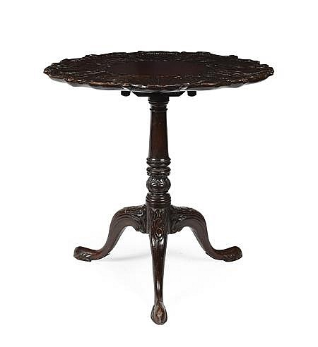 IRISH GEORGE II STYLE MAHOGANY TRIPOD TEA TABLE 19TH CENTURY 71cm diam, 70cm high