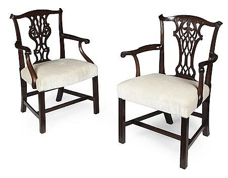 TWO GEORGE III MAHOGANY OPEN ARMCHAIRS 18TH CENTURY One: 64cm wide, 96cm high, 47cm deep; the other 59cm wide, 96cm high, 46cm deep