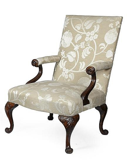 GEORGE III MAHOGANY LIBRARY ARMCHAIR 18TH CENTURY 66cm wide, 101cm high, 46cm deep