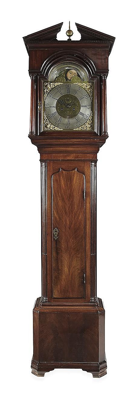 GEORGE III MAHOGANY LONGCASE CLOCK BY JOSHUA HARROCKS, LANCASTER MID 18TH CENTURY 48cm wide, 231cm high, 26cm deep