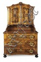 GERMAN WALNUT, FRUITWOOD AND EBONISED PARQUETRY CABINET 19TH CENTURY 118cm wide, 196cm high, 61cm deep