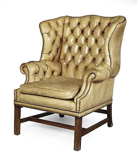 GEORGE II STYLE BUTTON TUFTED LEATHER WING ARMCHAIR 19TH CENTURY 87cm wide, 110cm high, 56cm deep