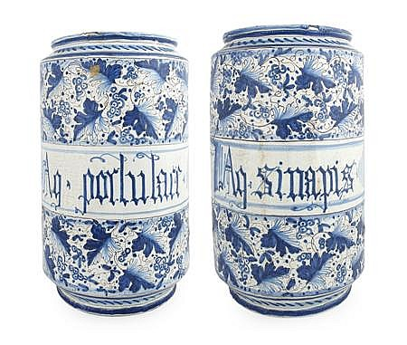 PAIR OF ITALIAN MAIOLICA DRUG JARS 19TH CENTURY 26cm diam, 44cm high