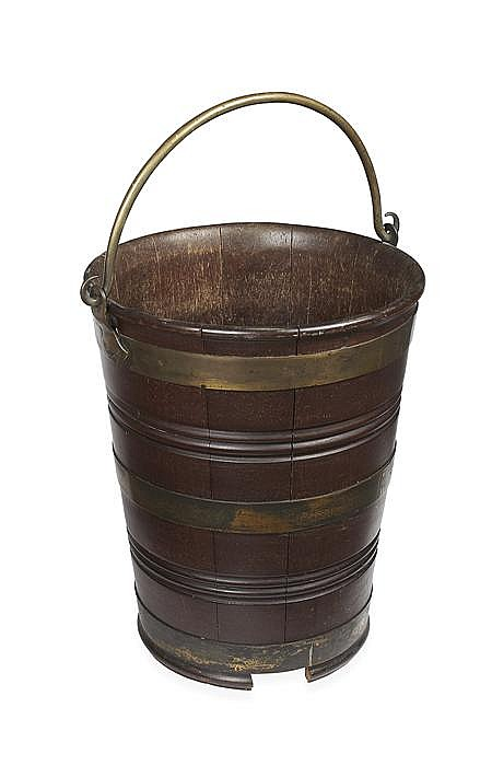 GEORGE III MAHOGANY BRASS BOUND PEAT BUCKET 18TH CENTURY 39cm diam, 47cm high