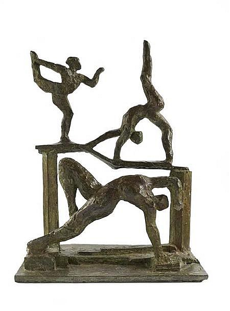 IVOR ABRAHAMS (B. 1935) TABLEAU BALANCE 37cm high (14.5in)