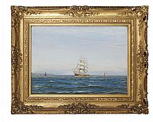 § PATRICK DOWNIE R.S.W. (SCOTTISH 1854-1945) A BREEZE OFF THE CLOCH, FIRTH OF CLYDE 55cm x 76cm (21.75in x 30in)