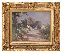 § ROBERT RUSSELL MACNEE G.I. (SCOTTISH 1880-1952) ROAD THROUGH THE VILLAGE 35cm x 45cm (13.75in x 17.75in)