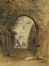 THOMAS MILES RICHARDSON THE YOUNGER (BRITISH 1813-1890) PRUDHOE CASTLE, NORTHUMBERLAND 32cm x 24cm (12.5in x 9.5in)