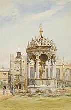 JOHN FULLEYLOVE (BRITISH 1845-1908) THE GREAT COURT FOUNTAIN, TRINITY COLLEGE, CAMBRIDGE 25.5cm x 18cm (10in x 7in)
