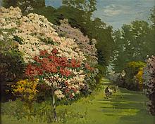 ROBERT NOBLE R.S.A., P.S.S.A. (SCOTTISH 1857-1917) RHODODENDRONS IN BLOOM 41cm x 51cm (16in x 20in)