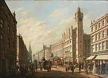 ATTRIBUTED TO WILLIAM GAWIN HERDMAN (BRITISH 1805-1882) PANORAMIC VIEW OF THE TRONGATE GLASGOW 102cm x 140cm (40in x 55in)
