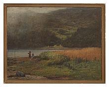JOSEPH HENDERSON R.S.W. (SCOTTISH 1832-1908) HARVEST-TIME 71cm x 91cm (28in x 36in)