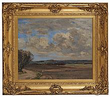 JOHN CAMPBELL MITCHELL R.S.A. (SCOTTISH 1862-1922) EAST CRAIGS ROAD, COSTORPHINE 51cm x 61cm (20in x 24in)