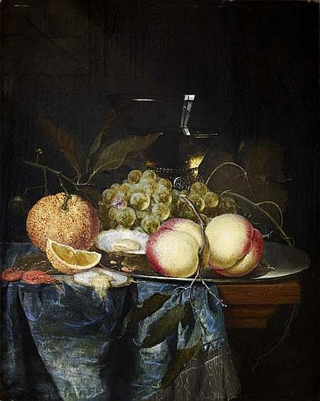 ATTRIBUTED TO PIETER DE RING (DUTCH 1615-1660) A STILL LIFE OF ASSORTED FRUIT, OYSTERS AND A WINE GLASS ON A LEDGE 44.5cm x 34cm (17...