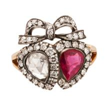 A late 19th century ruby and diamond set ring Ring size: K/L