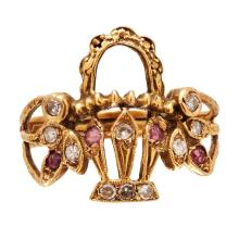 A 19th century ruby and diamond set basket ring Ring size: L