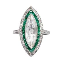 A French early 20th century emerald and diamond set cluster ring Ring size: O