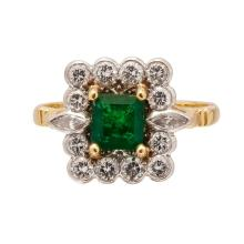 An emerald and diamond set cluster ring Ring size: N, estimated principal diamond weight: 0.52cts