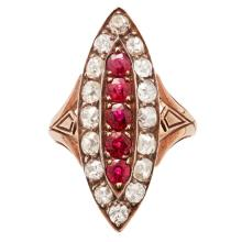 A ruby and diamond set ring Ring size: L/M