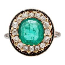 A 19th century Russian emerald and diamond ring Ring size: L, estimated emerald weight: 1.42cts