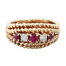 A ruby and diamond set ring Ring size: R/S