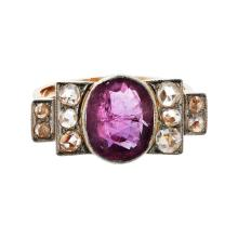A ruby and diamond set ring Ring size: N