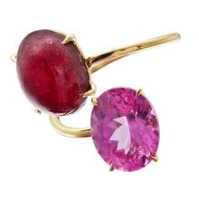 A contemporary ruby and pink spinel set ring Ring size: L/M