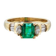 An emerald and diamond set ring Ring size: M/N, estimated emerald weight: 0.75cts