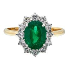 An emerald and diamond set cluster ring Ring size: N, estimated emerald weight: 1.82cts