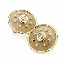 MAPPIN & WEBB - A pair of 18ct gold and diamond set ear clips 22mm diameter