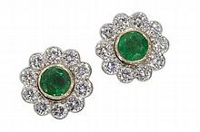 ASPREY & CO. - A pair of 18ct gold mounted emerald and diamond set ear studs 1.6cm diameter