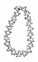 GEORG JENSEN - an abstract form silver necklace 42cm long